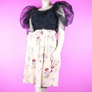 Soigneux Vintage Floral Crème Imprimé Motif Plis Flowy Taille Haute 90 S Short Jupe-culotte 8-afficher Le Titre D'origine