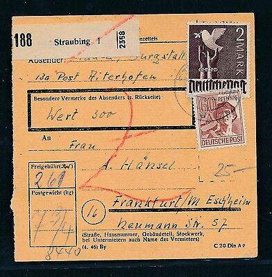 Ab Paketkarte 260pf Mif Mit 2m Ab Straubing 1 Aufrichtig 93269 6/1948