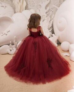 Kids Dark Red Lace Flower Girl Dress