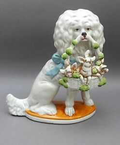 19thC-Spaniel-Dog-with-Basket-of-Pigs-in-Clover-24cm-Antique-German-Porcelain