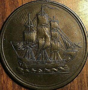 LOWER CANADA SHIP COMMERCE HALF PENNY TOKEN - No pennant - Breton 1004