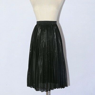 Fashion Womens Metallic Silver Skirt Velvet Pleated Stretch Midi Skirts Clubwear