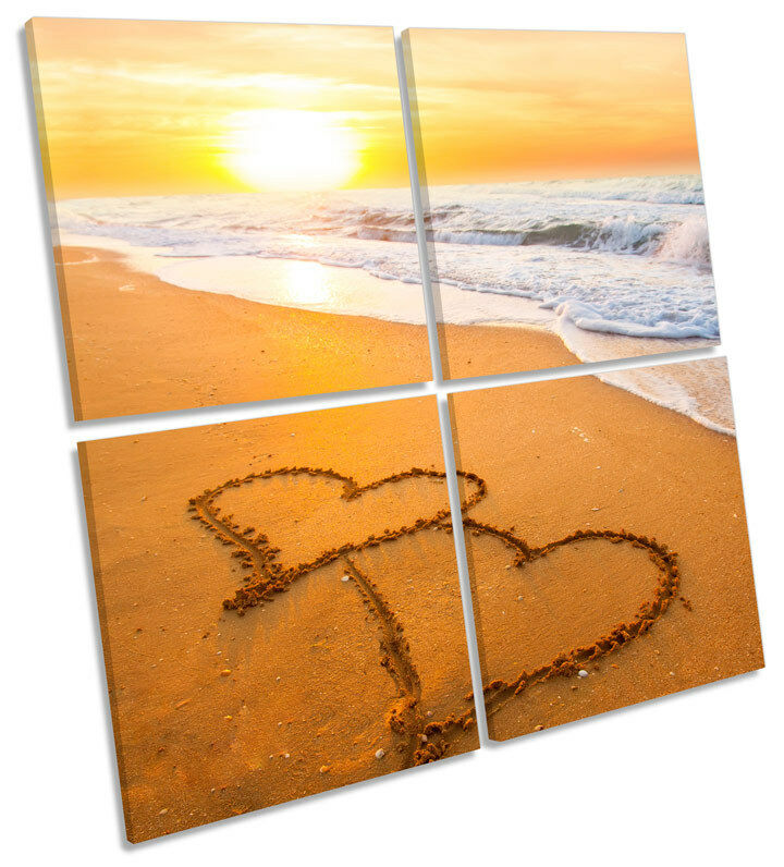 Sand Hearts Beach Sunset MULTI CANVAS WALL ART Square Picture