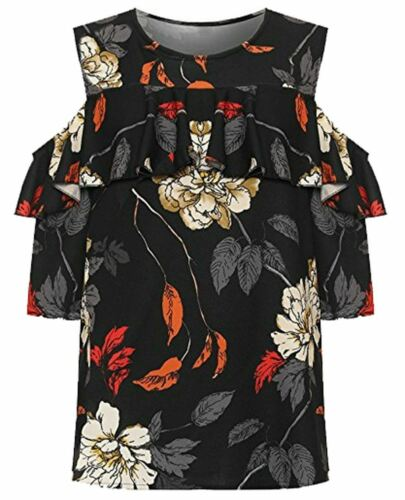 Ladies Floral Print Frill Cut Out Cold Shoulder Layered Top Women 3//4 Sleeve Top
