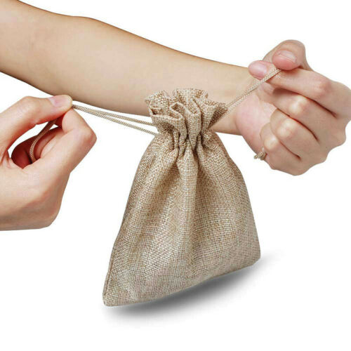 100 Small Burlap Jute Hessian Wedding Favor Jewellery Bags Drawstring Pouches