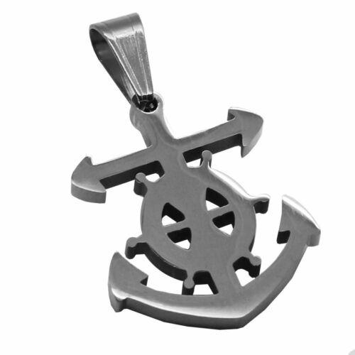 Anker Steuerrad Kettenanhänger Maritim Anchor Halskette Königskette Edelstahl