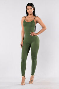 Dettagli su abito tuta intera verde militare smanicata donna comodo leggero pantaloni 4679