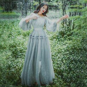Lady-Chiffon-Off-Shoulder-Princess-Maxi-Dress-Ruffle-Sleeve-Lolita-Prom-Gown-New
