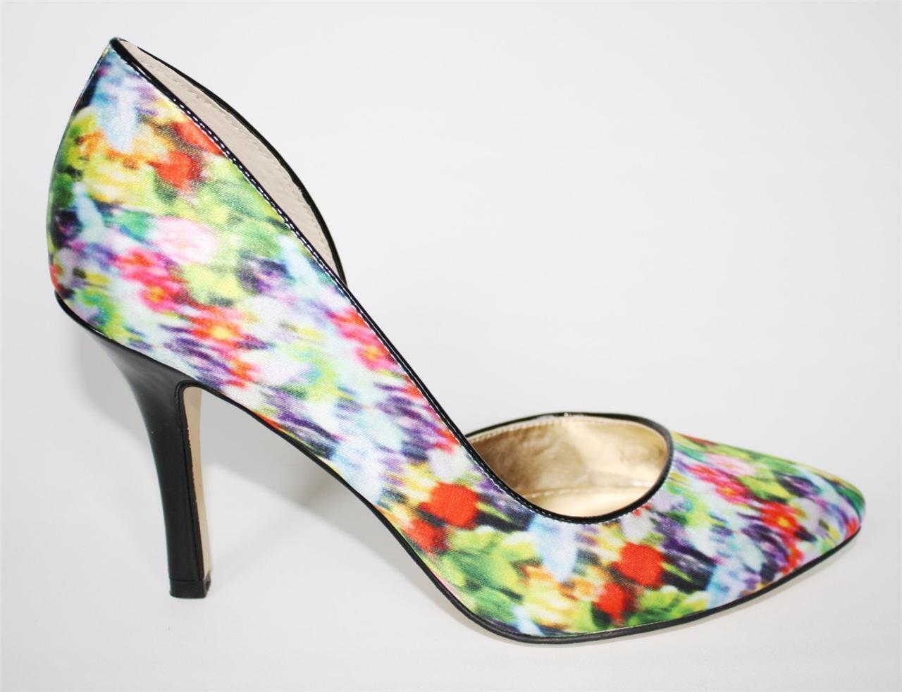 Damenschuhe Schuhes Anne Klein ZYA d'Orsay Classy Satin Pumps Heels Green Multi Satin Classy Fabric 0b08d6