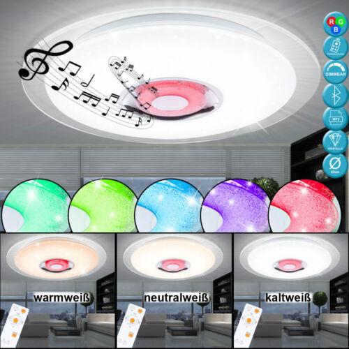 DEL Cristal Plafonnier Haut-parleurs RGB Télécommande Variateur Lumière du jour chrome
