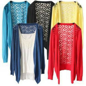 Women Sweater Knit Floral Lace Back Cardigan Pleated Cappa Wrap ...