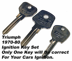 Ignition Key Blank Set Triumph Stag Spitfire Tr6 Tr7 Tr8 Gt6 1970 80