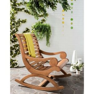 Tremendous Details About Safavieh Rocking Chair Sonora Patio Crafted Eucalyptus Wood Outdoor Teak Brown Cjindustries Chair Design For Home Cjindustriesco
