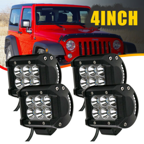 4Pcs 18W Led Work Lights Pods Spot Offroad Lamp For ATV JEEP UTE 4/'/' Cube