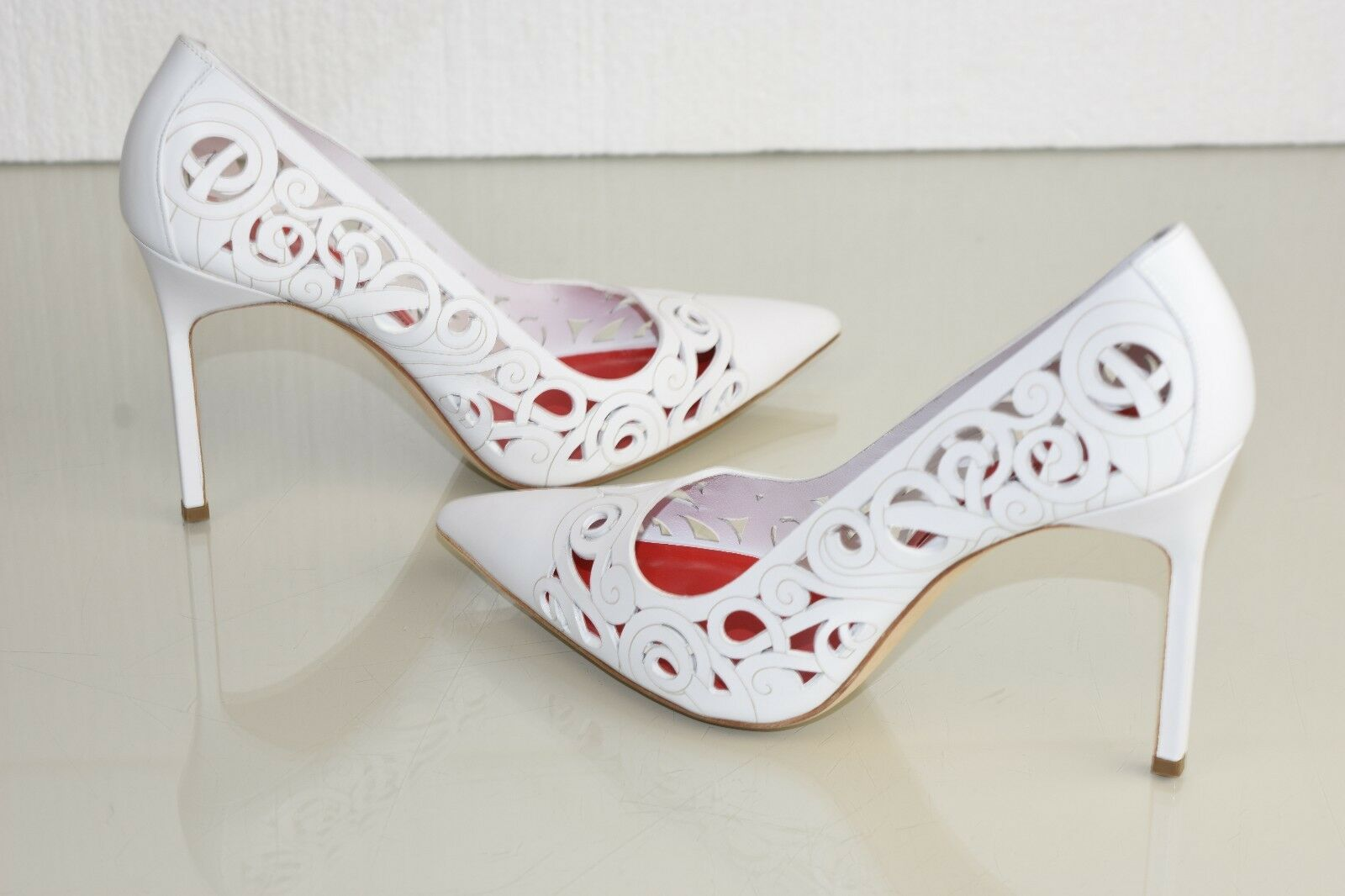 New MANOLO BLAHNIK BB ROCCO 105 White Red Leather Pumps shoes Heels 41