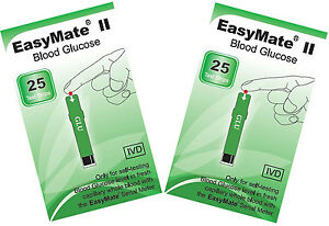 Blood-Sugar-Test-TWO-packs-of-25-test-strips-EASYMATE-Fresh-and-long-dated