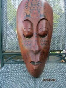 """HAND CRAFTED 19 1/2"""" X 9 1/2"""" CEREMONIAL COSTUME MASK IS WIRED FOR WALL HANGING"""