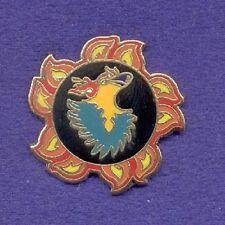 Colorful Flaming Circle of Flames w/ Cartoon Phoenix Bird In Center Lapel Pin