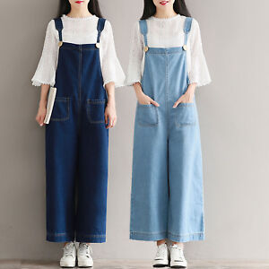 f425ae5cd20 Image is loading Retro-Denim-Jumpsuit-Wide-Leg-Jeans-Braces-Ninth-