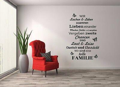 Wandtattoo - Aufkleber- Familie- Wir lachen und leben