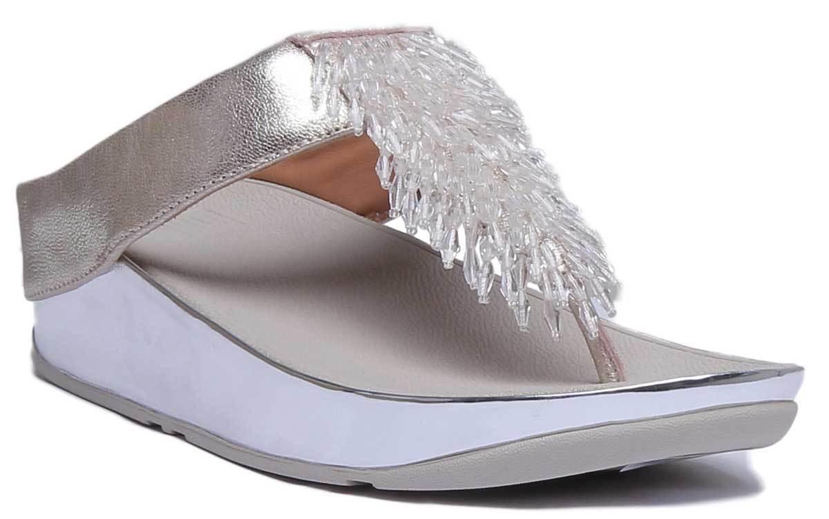Fittflop Rumba kvinnor läder silver Toe Thong Sandaler UK Storlek 3 - 8