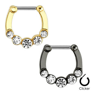 1 or 2 Pieces Five Gems 316L Surgical Steel Septum Clicker-Gold/Hematite (MS05)