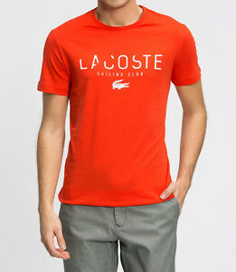0c784092 Lacoste T Shirt Red Broken Logo Graphic Tee Mens Lacoste Shirt 100 ...