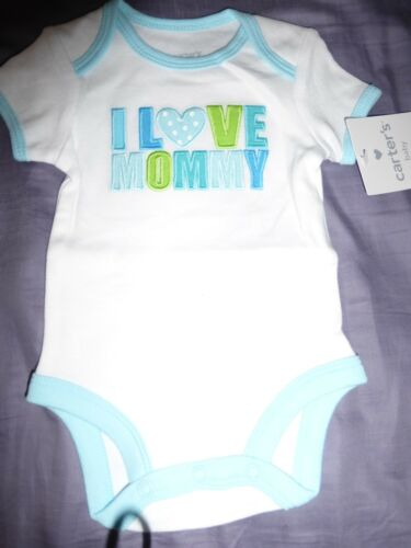 """NB 6 MONS Carter/'s /"""" I Love Mommy/"""" Short Slogan Bodysuit NWT"""