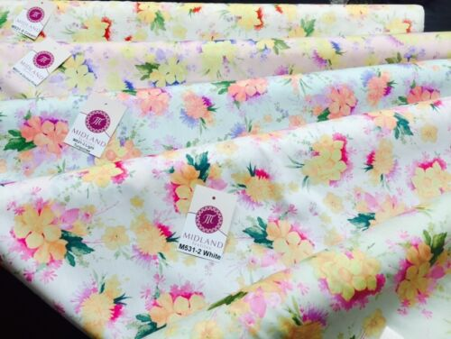 "Vintage Abstract Floral Printed Fabric 100/% Cotton Poplin  44/"" Wide  M531 Mtex"