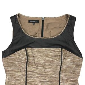 Lafayette-148-New-York-Women-039-s-Gold-Metallic-Sheath-Shift-Dress-Leather-SIze-8