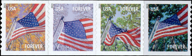 2013 46c Forever Flags for All Seasons, Strip of 4 Scot