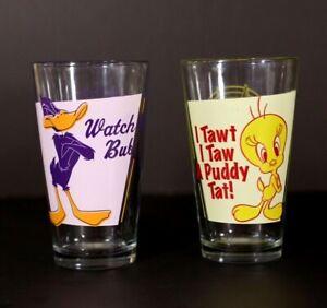 Looney-Tunes-Daffy-Duck-Tweety-Bird-Warner-Bros-Made-in-USA-Glass-Cups-ICUP-Inc
