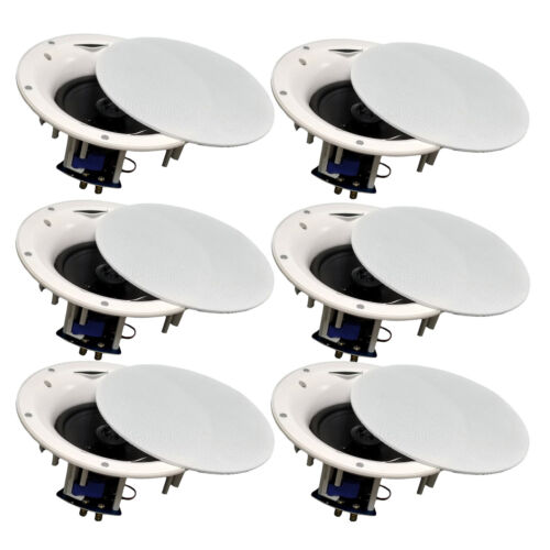 "TDX 6.5/"" 2-Way Ceiling Wall Home Theater Speaker Flush Mount White New 6 Pack"