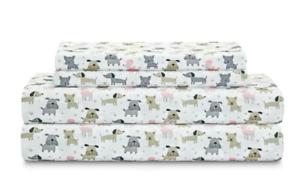 NEW FULL SIZE SHEET SET DOUBLE SIZE SHEETS DOG PUPPY POODLE DACSHUND BOXER PRINT