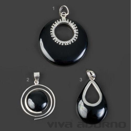925 Silber Anhänger Onyx schwarz Tropfen Spirale Sonne Halskette Kette AS54