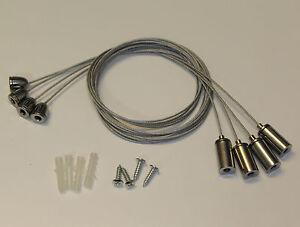 Seilabhaengung-Befestigung-SET4x-Seil-Aufhaengung-fuer-LED-Panel-Deckenbefestigung