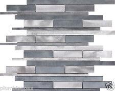 Grey & Silver Brushed Aluminum Kitchen Bath Backsplash Mosaic Tile-1 Sheet