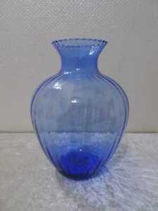 Grande Design Vaso Vetro - Vintage - Circa 1970 - Handgefertigt - Blu - 30,5 CM