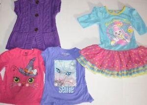 Lot-of-4-Girls-Clothes-Old-Navy-Sweater-Kitty-Shirts-Shopkins-Ruffle-Dress-4T-XS