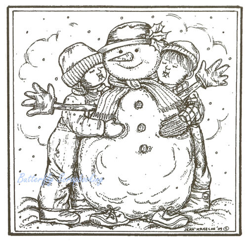 Christmas Children Snowman Wood Mounted Rubber Stamp Northwoods Rubber Stamp New
