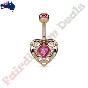 316L Surgical Steel Gold IP Belly Ring with Pink Gem Tribal Floral Design Dangle