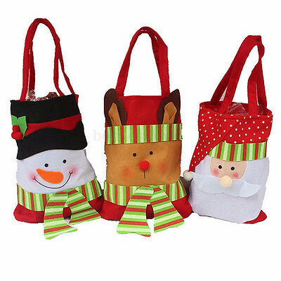 NEW Christmas Santa Claus Snowman Decoration Xmas Gift Bag Candy Pouch Stocking