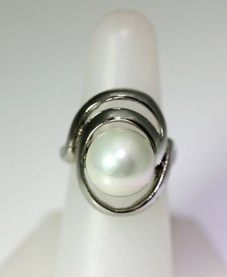 9902 Size 7.5 Ring Sterling Silver 3 Roses Free Form Design with Pearl Center by GG