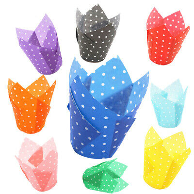 50Pcs Paper Cup Cupcake Wrapper Liners Muffin Cup Tulip Case Cake Paper Baking G