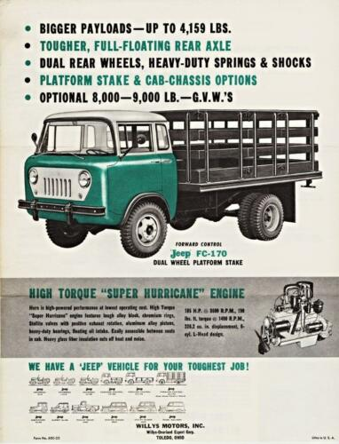 Print Green 1960 Willys Jeep FC-170 Stake Truck Ad
