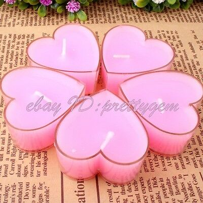 Wedding Favor Christmas Day Creative Gift Pink Heart Smokeless Candle 5 Pcs