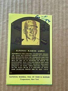 Al Lopez Autographed Signed HOF Plaque Postcard Cleveland Indians