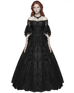 Punk-Rave-Gothic-Wedding-Dress-Long-Black-Lace-Steampunk-Victorian-Prom-Ballgown