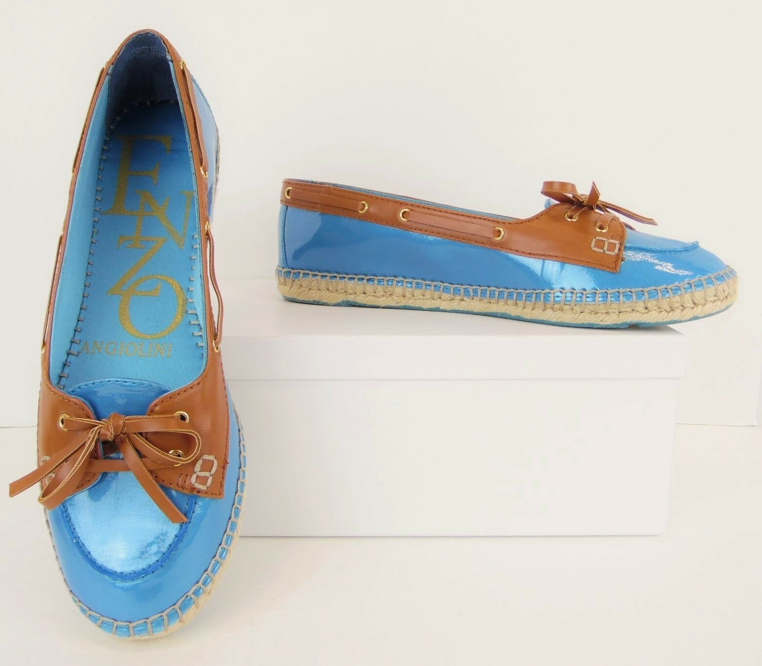 NWOB Enzo Angiolini Blau + Tan Espadrille Flats Loafers Boat Schuhes 9.5M (S180)