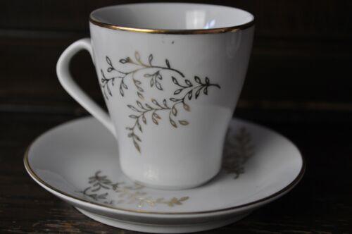 Una bella vintage bianco e oro DUO Caffè Espresso Tazza e Piattini